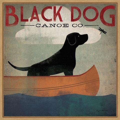 Black Dog Canoe Co (square) by Ryan Fowler Framed Canvas Art