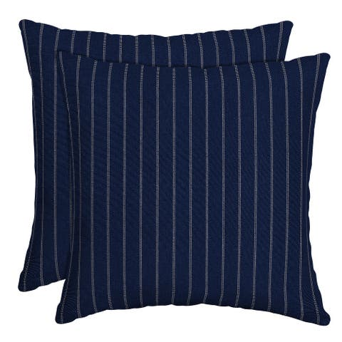 Arden Selections Navy Woven Stripe Outdoor Throw Pillow, 2 pack - 16 in L x 16 in W x 5 in H