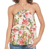 Love Fire Women's Small Ruffle Floral Halter Blouse