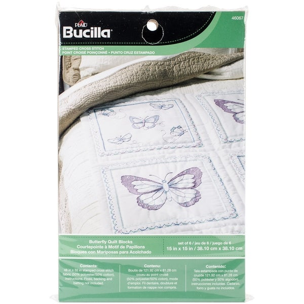 """Stamped Embroidery Quilt Blocks 15""""X15"""" 6/Pkg-Butterfly"""