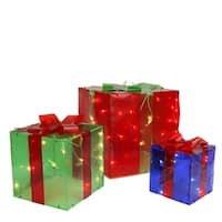 Set of 3 Lighted Red, Green and Blue Gift Box Outdoor Christmas Decoration - Multi