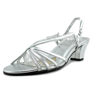 Mark Lemp By Walking Cradles Leash Women Open Toe Leather Silver Sandals