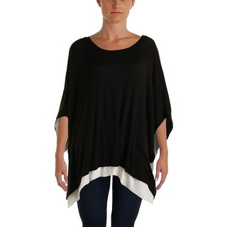 Three Dots Womens Knit Asymmetrical Poncho Sweater