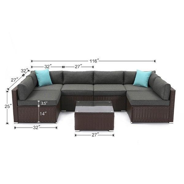 COSIEST 7-piece Outdoor Patio Furniture Wicker Sofa