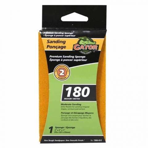 "Gator 7365 Step 2 Sanding Premium Sanding Sponge, 3""x5""x1"", Medium 180-Grit"