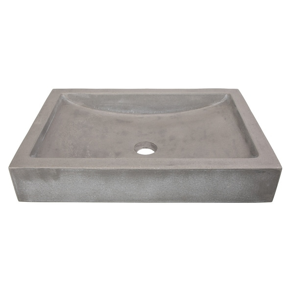 Eden Bath Shallow Wave Concrete Rectangular Vessel Sink - Gray