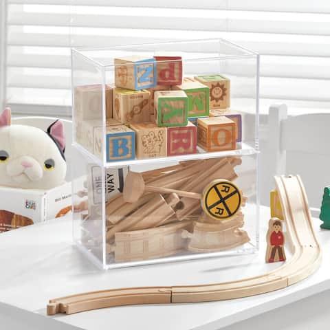 mDesign Plastic Kids Toy Box Storage Organizer Tote Bin, Clear - 9.5 X 6