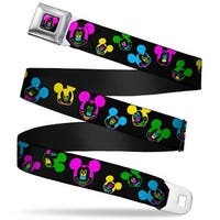 Mickey Mouse Face Full Color Black Multi Neon Mickey Mouse Expressions Seatbelt Belt