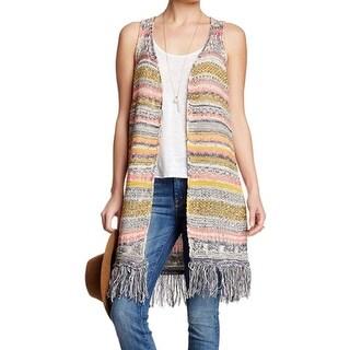 Paper Crane NEW Yellow Multi Striped Knit Fringe Small S Vest Sweater