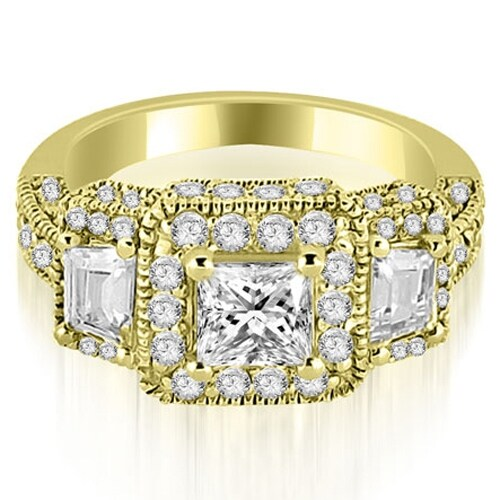 1.75 cttw. 14K Yellow Gold 3-Stone Princess & Trapezoid Diamond Engagement Ring