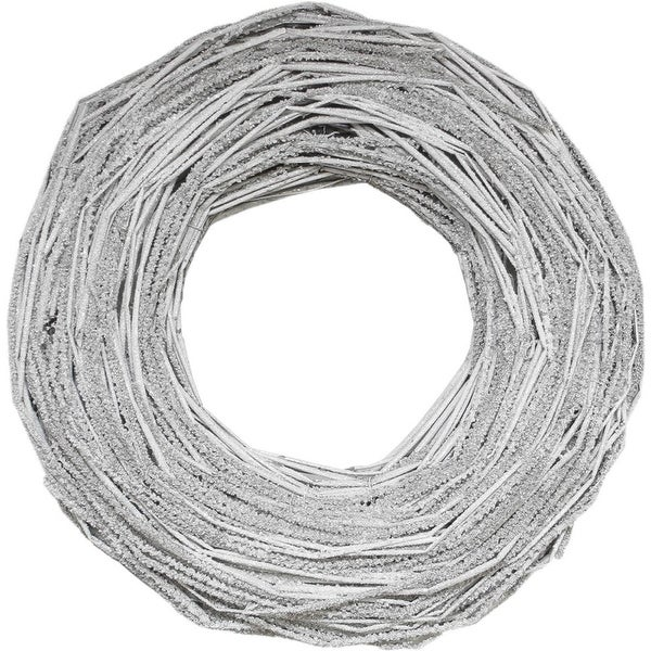 """13"""" Glittered Neutral Tones Rustic Artificial Christmas Twig Wreath - Unlit - WHITE"""