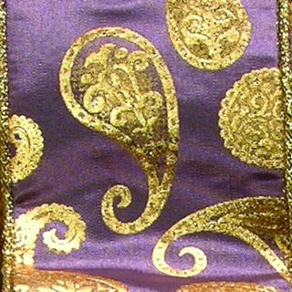 """Purple Satin with Gold Paisley Print Wired Craft Ribbon 6"""" x 20 Yards"""