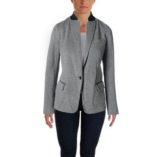 Vince Womens Wool Leather Trim One-Button Blazer - 8