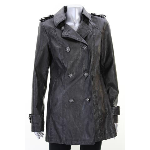 Inc International Concepts Black Pleather Coat - 32