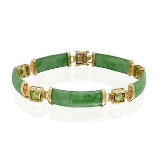 Bling Jewelry 925 Silver Chinese Good Luck Symbol Peridot Green Jade Bracelet