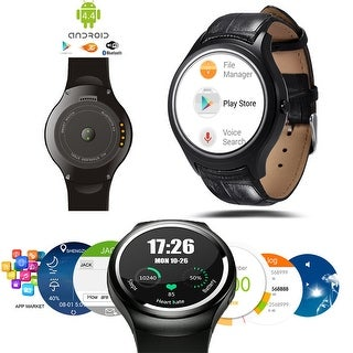 Indigi® Allweather Android 4.4 Smart Watch Phone (3G+WiFi) Google Play Store Google Map Weather Forecast Heart-Rate Monitor