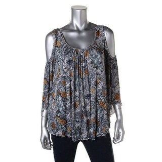 Free People Womens Paisley Cold Shoulder Pullover Top