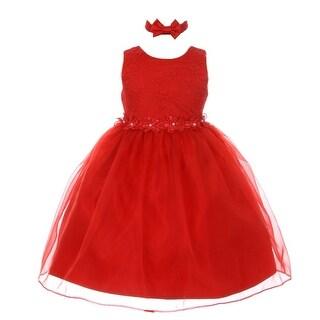 Rain Kids Baby Girls Red Floral Trim Organza Flower Girl Easter Dress 12M