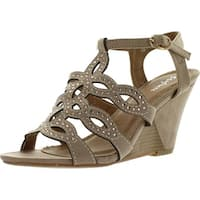 Styluxe Net-88 Womens Ankle Strap Rhinestone T-Strap Cut Outs Wedge Sandals
