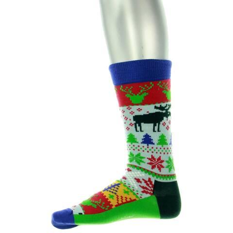 Happy Socks Mens Casual Socks Moose Holiday - Blue Multi - 10-13