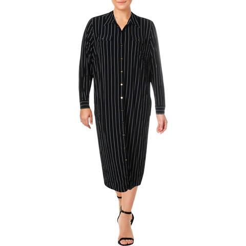 Lauren Ralph Lauren Womens Plus Shirtdress Striped Work Wear - Black Multi - 3X