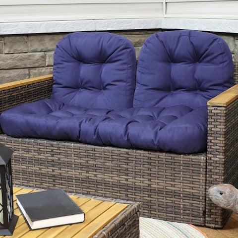 Sunnydaze Tufted Olefin 3-Piece Indoor/Outdoor Settee Cushion Set