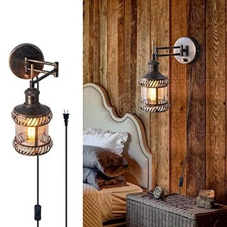 Link to Adjustable swing arm wall sconce rustic industrial wall light fixture with plug in and on off switch Similar Items in Sconces