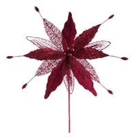 """Club Pack of 12 Artificial Burgundy Red Christmas Poinsettia Picks with Gems 12"""""""