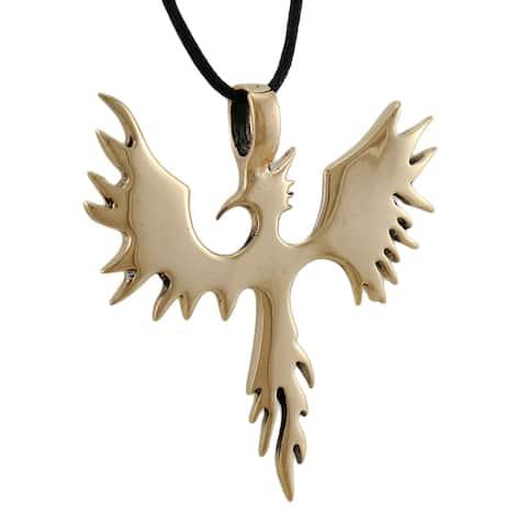 Large Polished Goldtone Phoenix Pendant W/ Cord Necklace Rebirth - One Size