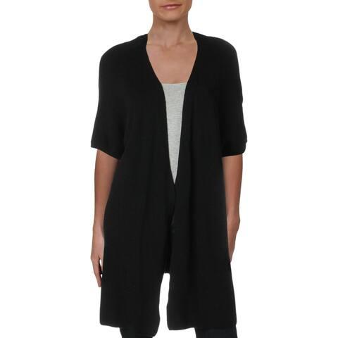 Max Studio London Womens Juniors Duster Sweater Open Front Long - Black - 1