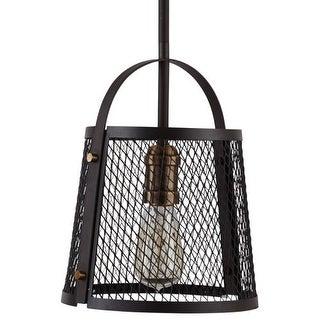 "Park Harbor PHPL5301 9"" Wide Single Light Mini Pendant with Rustic Cage Frame"