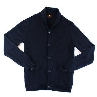 Toscano NEW Blue Mens 2XL Shawl Collar Cardigan Wool Knit Sweater