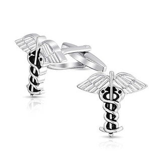 Bling Jewelry Medical Insignia Doctors RNs Nurses Mens Caduceus Cufflinks Stainless Steel Plated