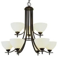 Trans Globe Lighting 8179 Nine Light Up Lighting Two Tier Chandelier from the Contemporary Collection - n/a