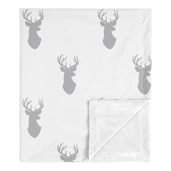 Grey Deer Collection Boy Baby Receiving Security Swaddle Blanket - Gray and White Woodland Forest Animal Stag Antler. Opens flyout.