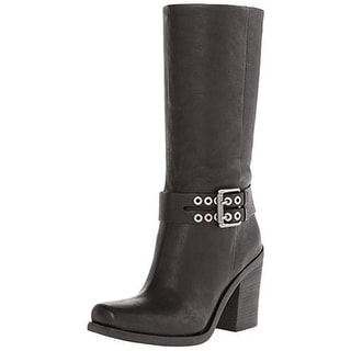 Nine West Womens No Game Motorcycle Boots Leather Buckle