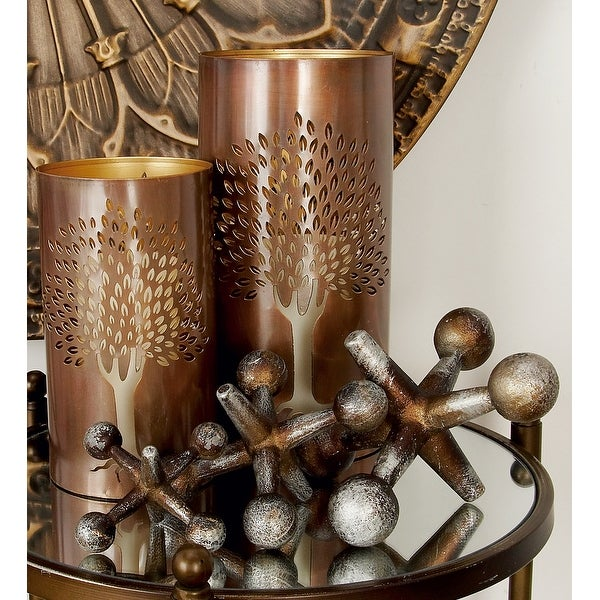 Modern Silver & Bronze Metal Jacks Sculptures Table Decor Set of 3. Opens flyout.