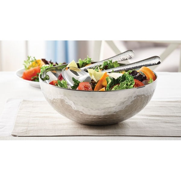 """Salad Bowl Hammered With Servers 3PC Set - 11"""" x 11"""" x 4'5"""". Opens flyout."""