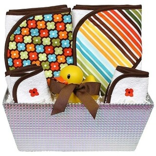 """Raindrops Baby Boys """"Wild About Prints"""" 6-Piece Hooded Towel Set, Brown Floral One Size - One size"""