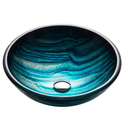 KRAUS Nature 17 in. Blue Round 19 mm thick Glass Vessel Bathroom Sink