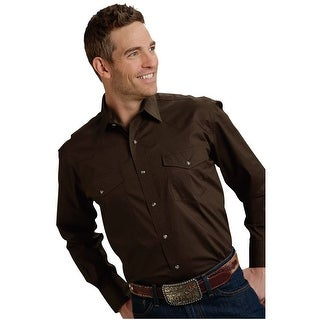 Roper Western Shirt Mens L/S Snap Solid Chocolate 03-001-0265-1069 BR