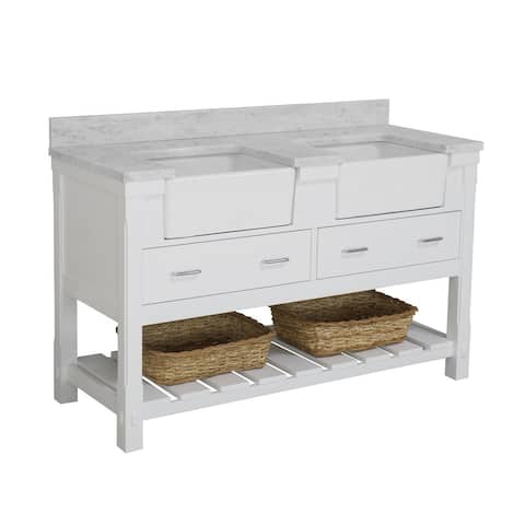 """Charlotte 60"""" Double Farmhouse Vanity with Carrara Marble Top"""