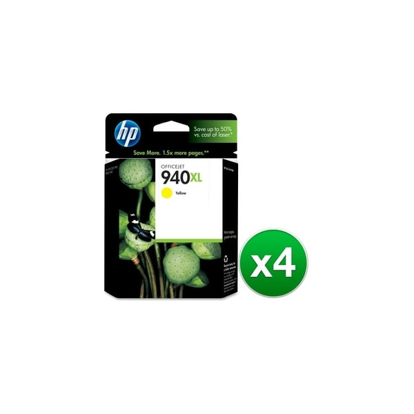 HP 940XL High Yield Yellow Original Ink Cartridge (C4909AN) (4-Pack)