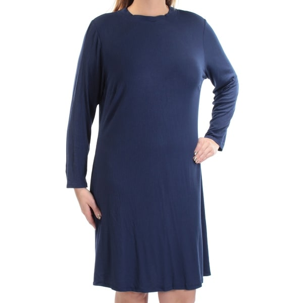 d5c0bb82151c Shop LOVE SQUARED Womens Navy Ribbed Long Sleeve Crew Neck Knee Length Shift  Dress Plus Size: 1X - Free Shipping On Orders Over $45 - Overstock -  21242022