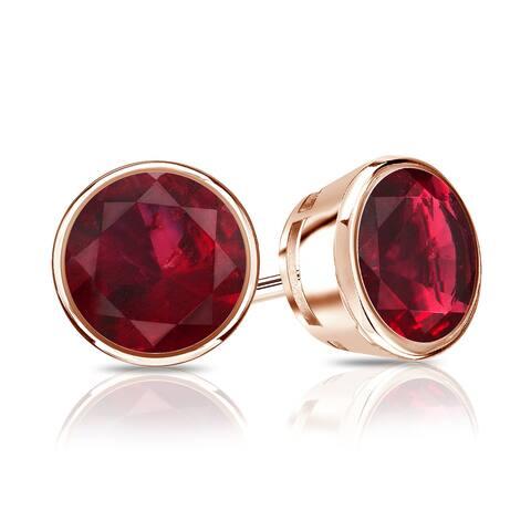 Auriya 14k Gold 2/5ctw Bezel-set Ruby Gemstone Stud Earrings