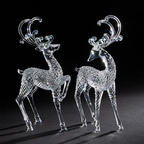 Set of 2 Clear Standing and Trotting Christmas Reindeer Acrylic Figurines 12.5