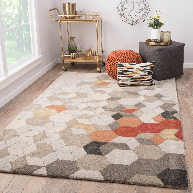 Duras Handmade Geometric Light Grey Orange Area Rug Overstock 20583627