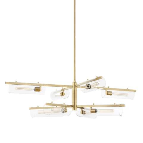Mitzi by Hudson Valley Lighting Ariel 8-light Aged Brass Chandelier, Clear Glass