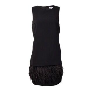 Calvin Klein Women's Feather-Trim Sleeveless Shift Dress (2P, Black) - Black - 2p