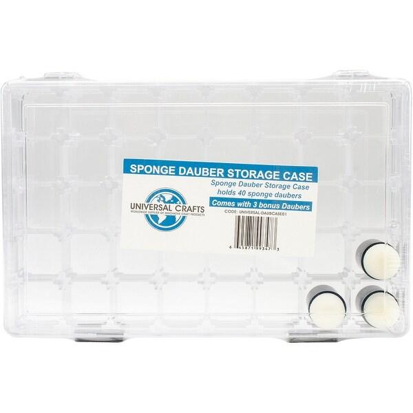 Universal Crafts 40 Space Sponge Dauber Case W/ 3 Daubers-Clear
